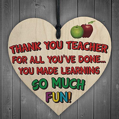 Thank You Teacher - Wooden Hanging Heart School Student Exam Tutor Nursery Gift