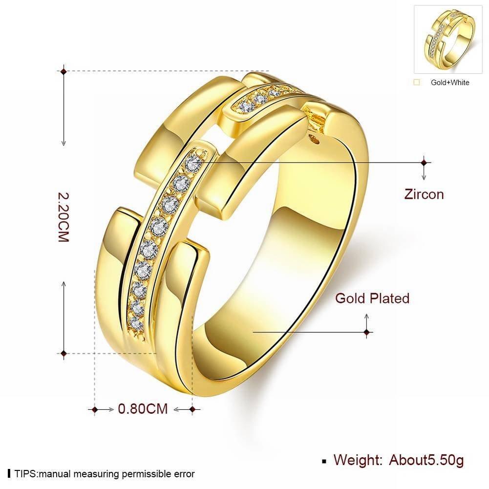 K Gold Zircon Fashion All Match Simple Zircon Stone Ring , gold , 7