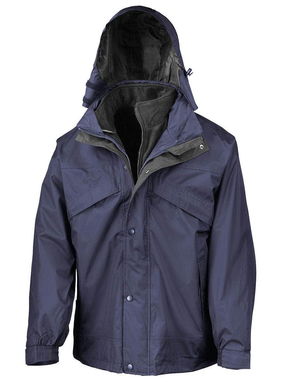 Result R068X 3 In 1 Fleece Lined Zip & Clip Waterproof Jacket Navy/Black XL