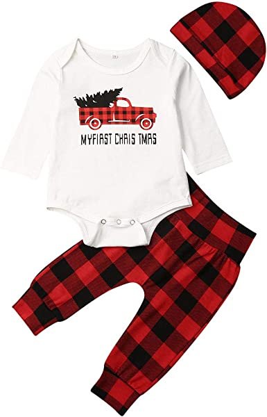 3PCS Toddler Baby Boy Girl Christmas Romper Bodysuit+Pants+Hat  Birthday Outfits