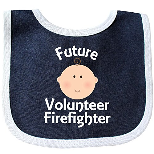 Inktastic Baby Boys' Future Volunteer Firefighter Gift Baby Bib Navy/White