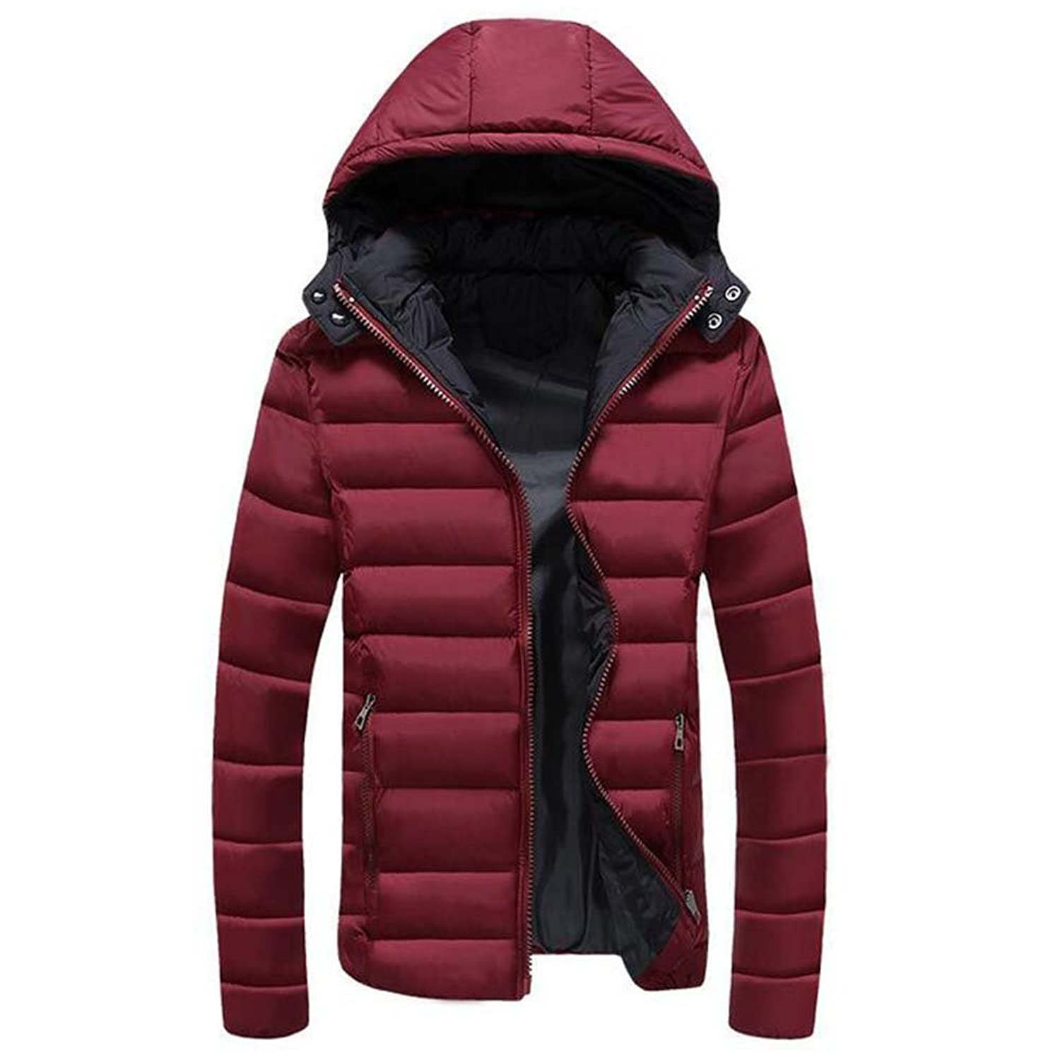 hibote Man Jacket Classical Warm Men Jacket Zipper Hat Detachable Coat Red 2XL
