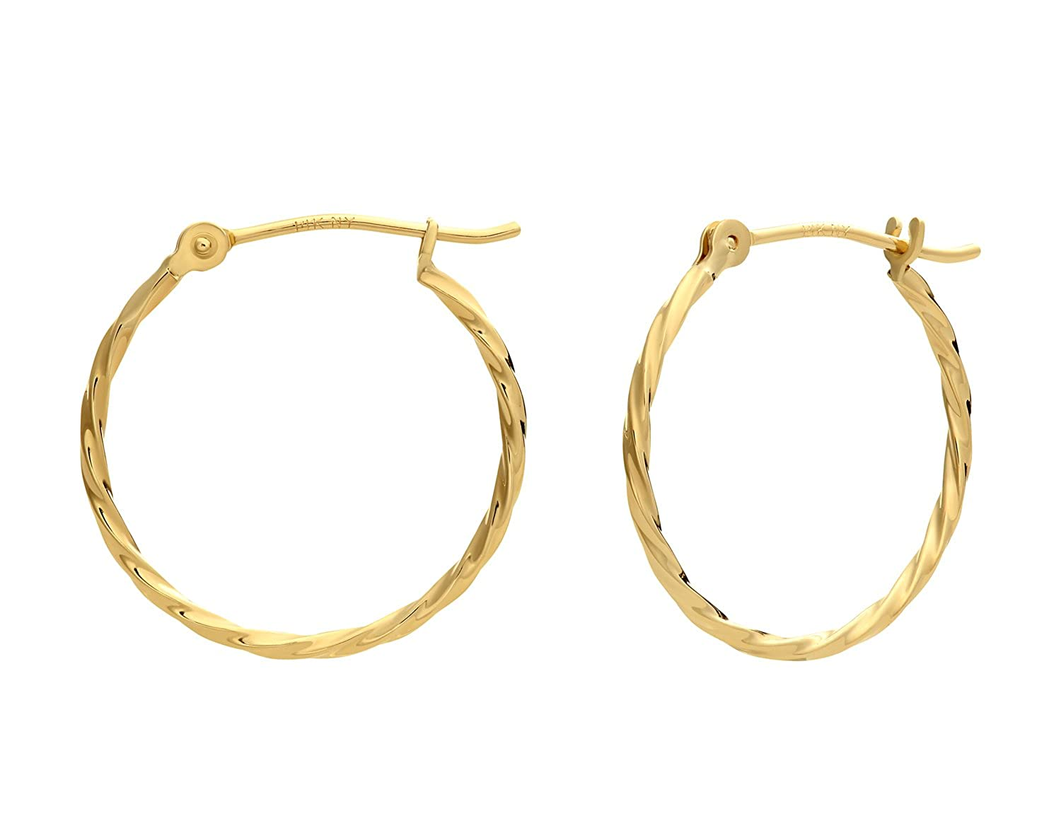14k Yellow Gold Twisted Round Hoop Earrings NY Gold and Silver Inc RJ14KY-TW