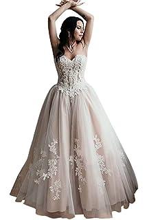 cad72d3c2ec48 HellodayZ Women's Lace Applique Wedding Dress Straplesss Beaded Tulle Bridal  Ball Gowns