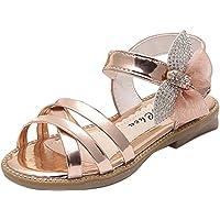 Gaorui Girls' Ankle Strap Shiny Faux Leather Sandals Princess Style Beach Flat Shoe