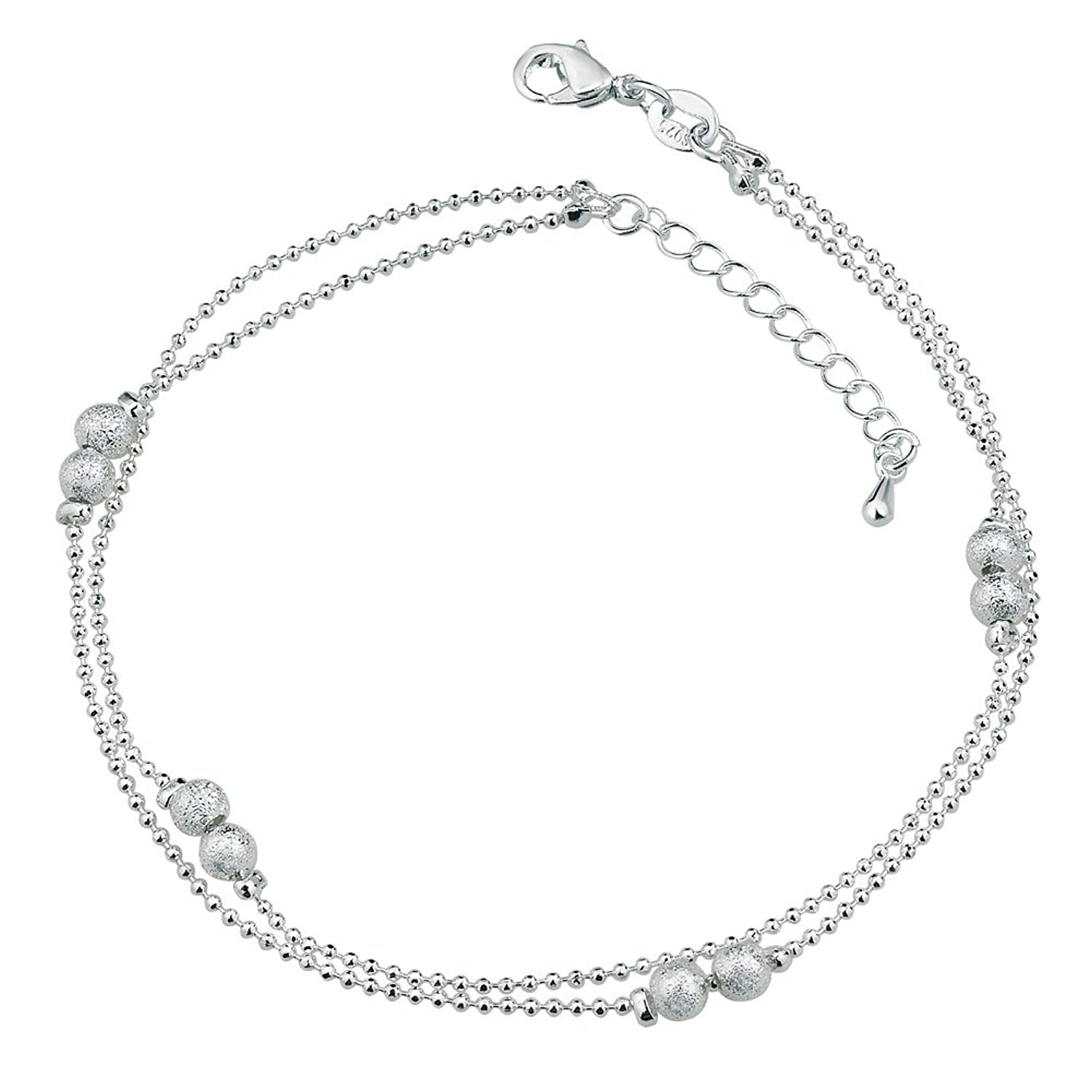 bracelet jewelry chain silver dp singapore bling amazon ankle anklet com sterling inch italy