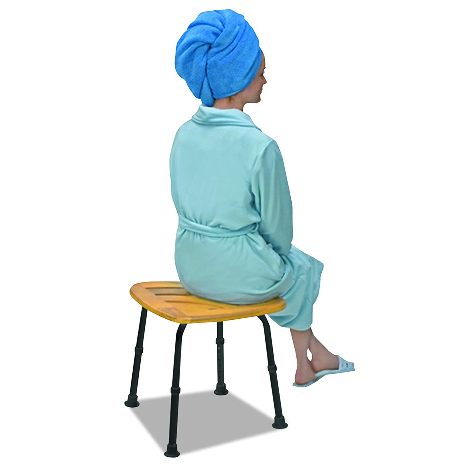 Amazon.com: Bamboo Shower Bench Shower Stool - Bath and Shower Chair ...
