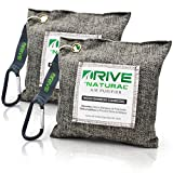 DRIVE Natural Car Air Freshener (Gray, 2-Pack), Best Auto Purifier Loaded 220g Moso Bamboo Activated Charcoal - Unscented Deodorizer Drying Bag...