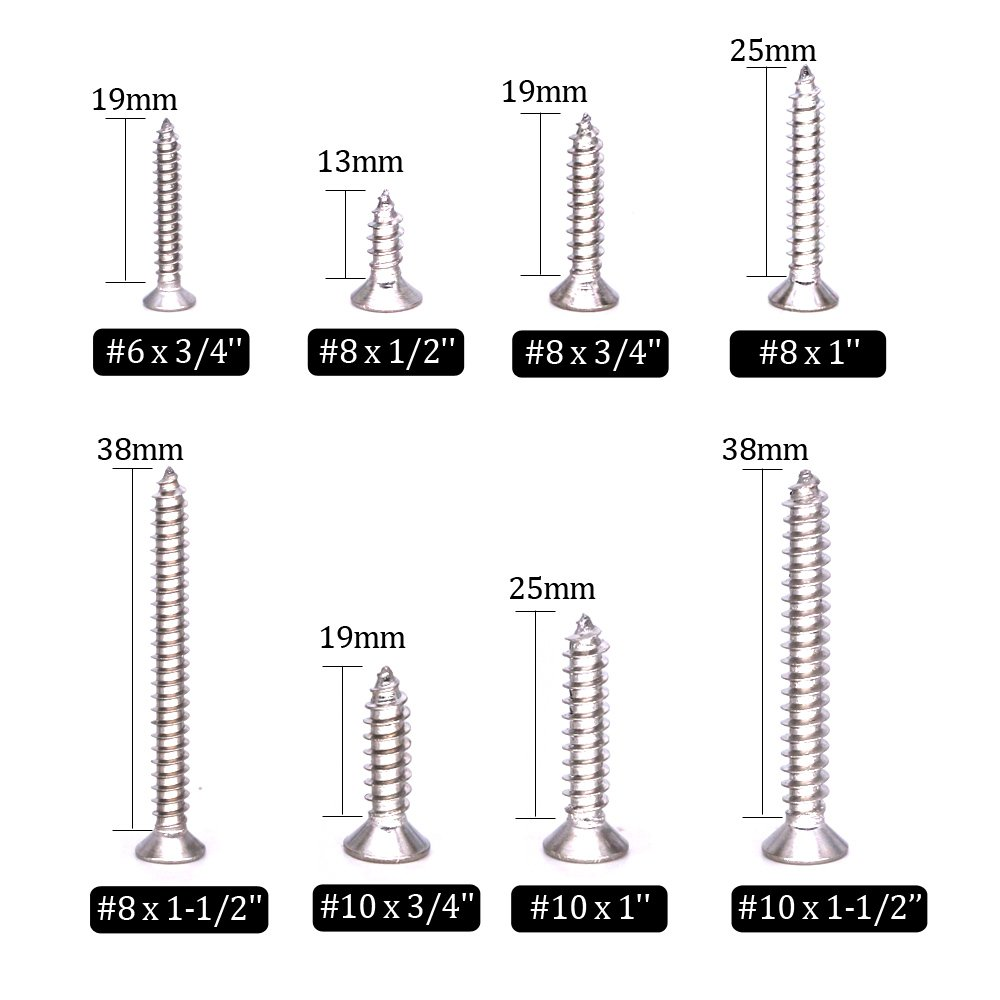 Flat Head Hilitchi 285-Piece Stainless Steel Phillips Flat Head Self Tapping Screw Assortment Kit