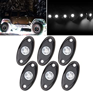 LEDUR LED Rock Light Kits LED Neon Underglow Light JEEP ATV SUV Offroad Truck Boat Underbody Glow Trail Rig Lamp Waterproof 8PCS,Blue
