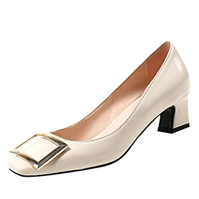 Charm Foot Women s Vintage Chunky Low Heel Pumps Shoes (4.5 cebe8dfd7