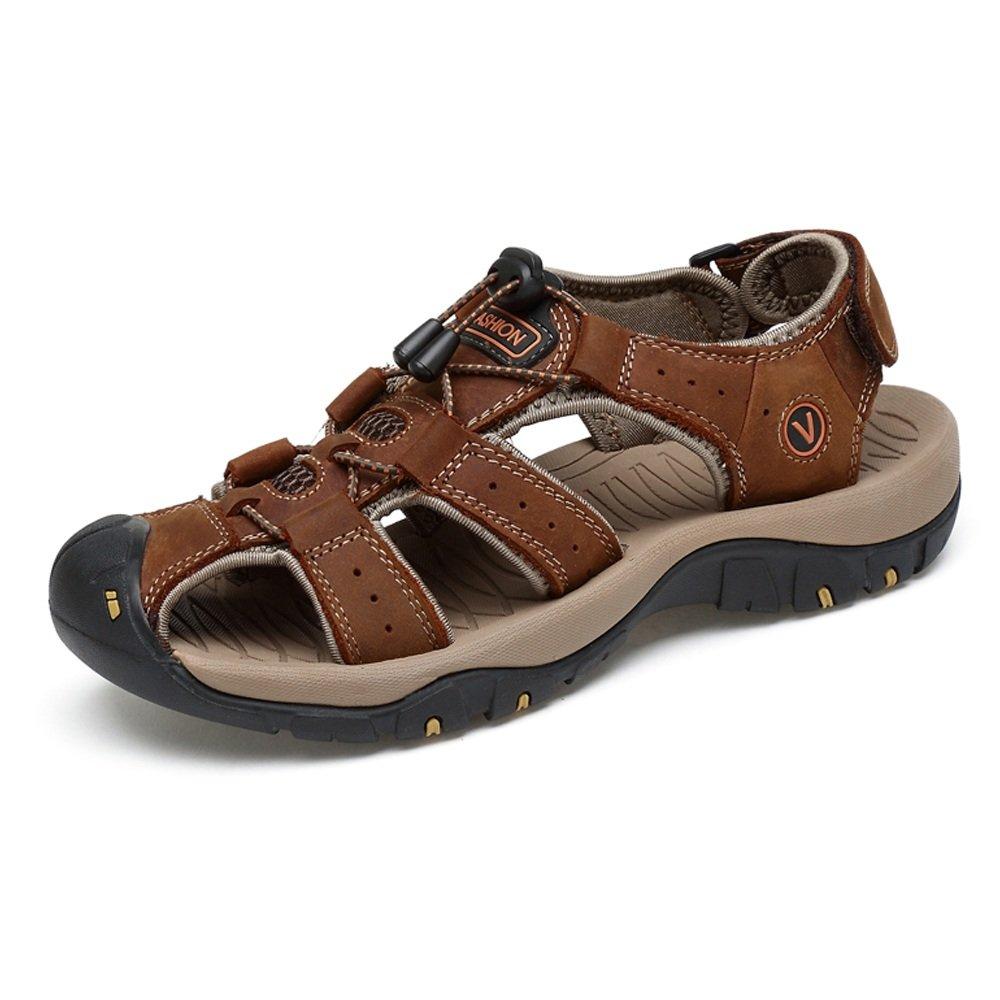 Zapatillas para Hombre Zapatillas De Playa De Cuero Genuino Sandalias Informales Perforación Transpirable Antideslizante Suave Piso Cerrado Punta Cerrada 43 EU Marrón