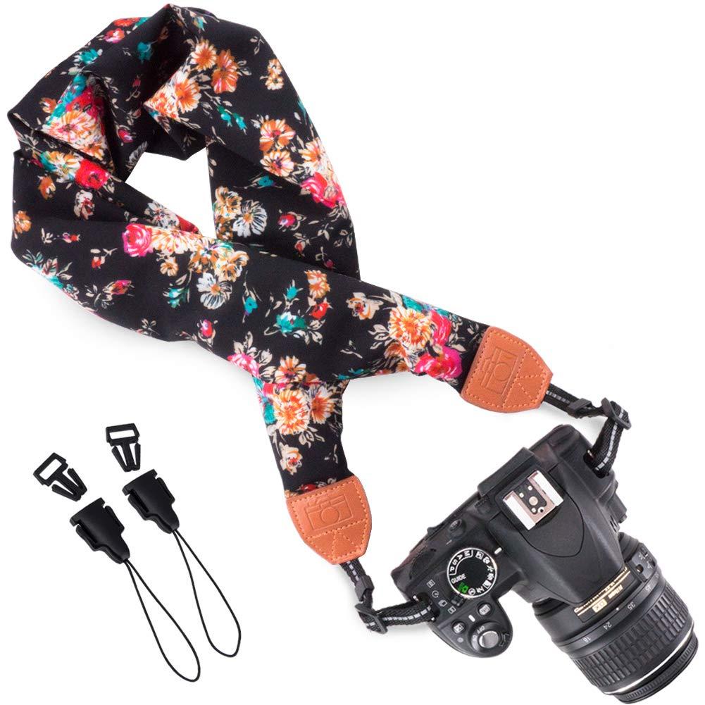 Wolven Comfortable Scarf Camera Neck Shoulder Strap Belt for Nikon / Canon / Sony / Olympus / Samsung / Pentax / Fujifilm Instax Mini / DSLR / SLR Camera Neck Shoulder Belt Strap - Blue Flower