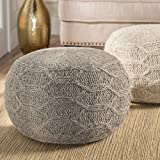 Magnolia Handwoven 100% Wool Pouf (Grey)