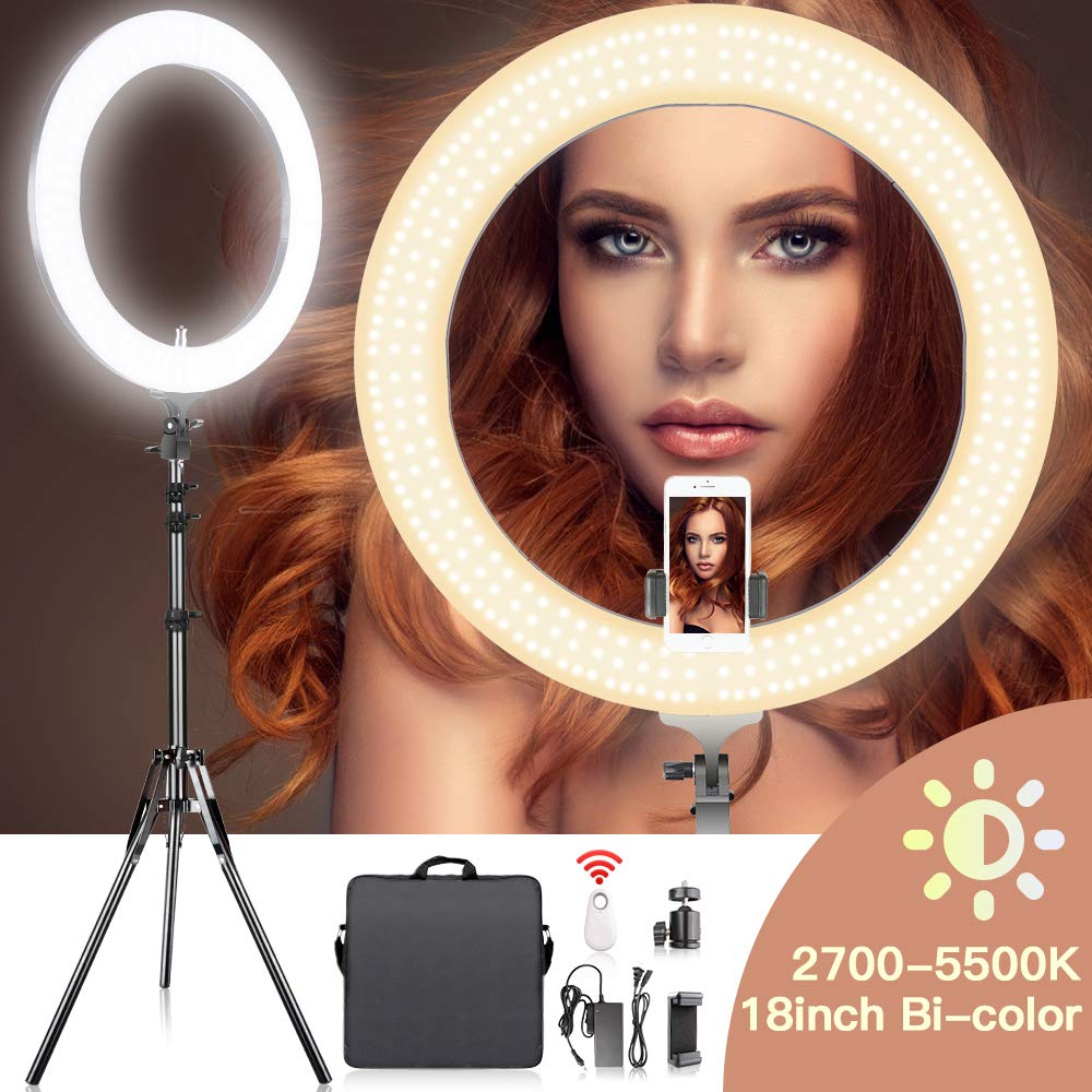 18 Inches Adjustable 2700-5500K Color Temperature Ring Light, SAMTIAN Dimmable SMD LED Ring Light Photography Video Lighting Kit with 78 Inches Light Stand, Phone Holder for YouTube, Portrait, Vlog by SAMTIAN