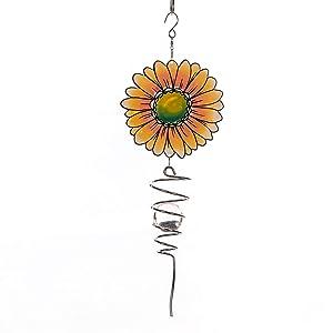 "Goose Creek 18"" Wind Spinner Outdoor Hanging Metal Figurine Spinner for Garden Décor Ornament Lawn Yard Patio,Sunflower"