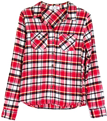 womens-roll-up-sleeve-plaid-check-flannel-shirt