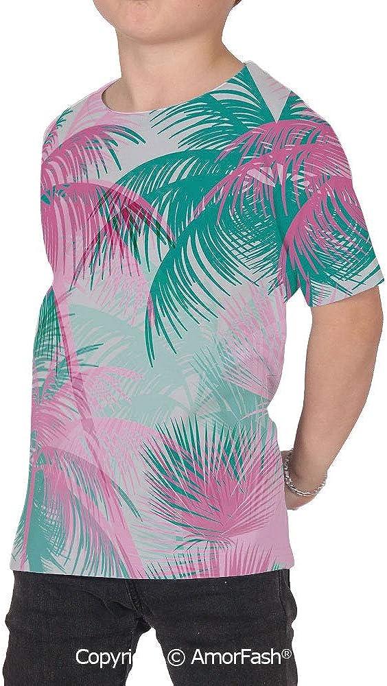 Palm Leaf Girls Casual Button Down Short Sleeve Shirt,XS-2XL,Beach Party Theme