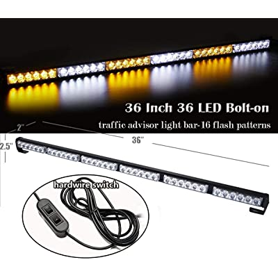 SmallFatW 38 Inch 36 LED Strobe Light Bar Traffic Advisor Directional Warning Emergency Rear Light Bar for Construction Vehicles, Tow Trucks, Law Enforcement Vehicle, Police (Amber/White): Automotive