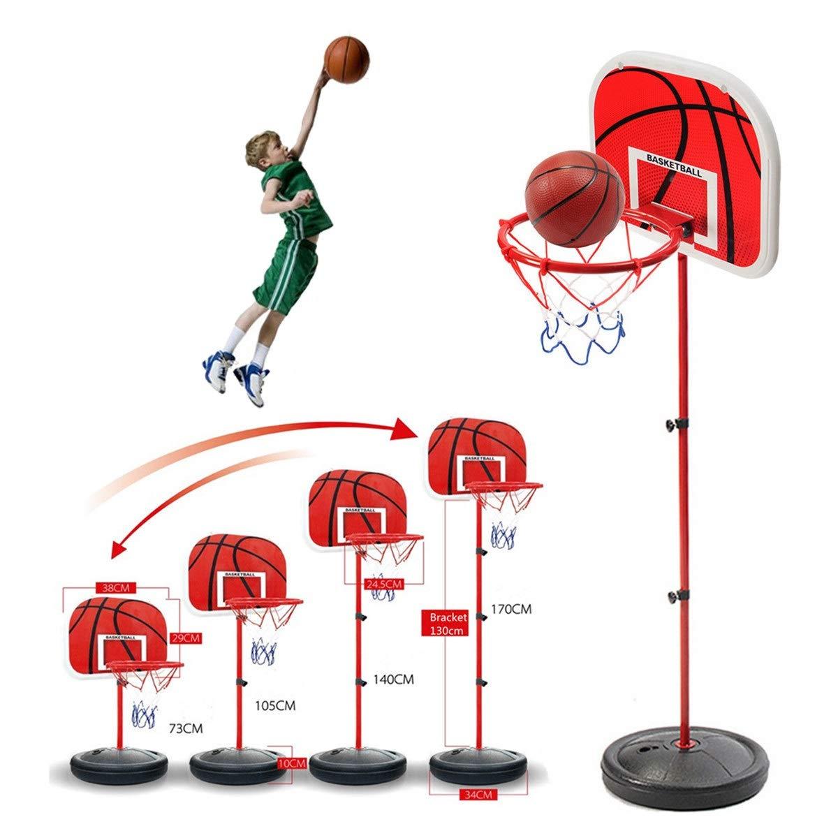 目 高さ調節可能 おもちゃ ミニバスケットボールステーション バックボード フープボール ポンプ 屋内 屋外 スポーツ B07RTBY6B8