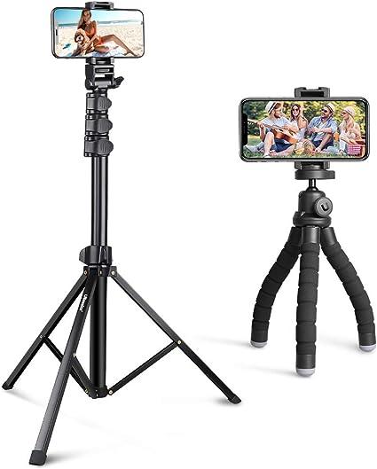 UBeesize Premium Flexible Mini Tripod S Bundle with 54-inch Detachable and Extendable Selfie Stick Tripod