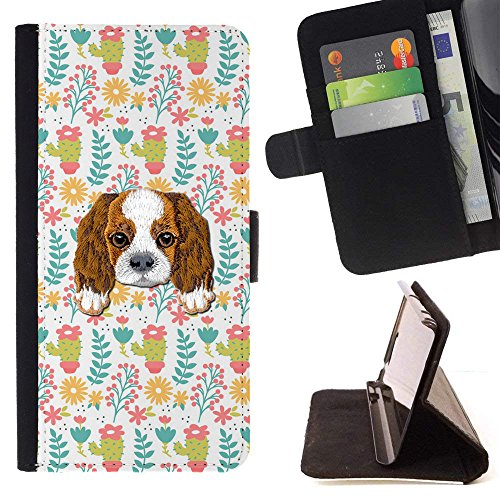 [ Cavalier King Charles Spaniel] Embroidered Cute Dog Puppy Leather Wallet Case for LG V30 [ Beautiful with Different Types Plants Pattern ]