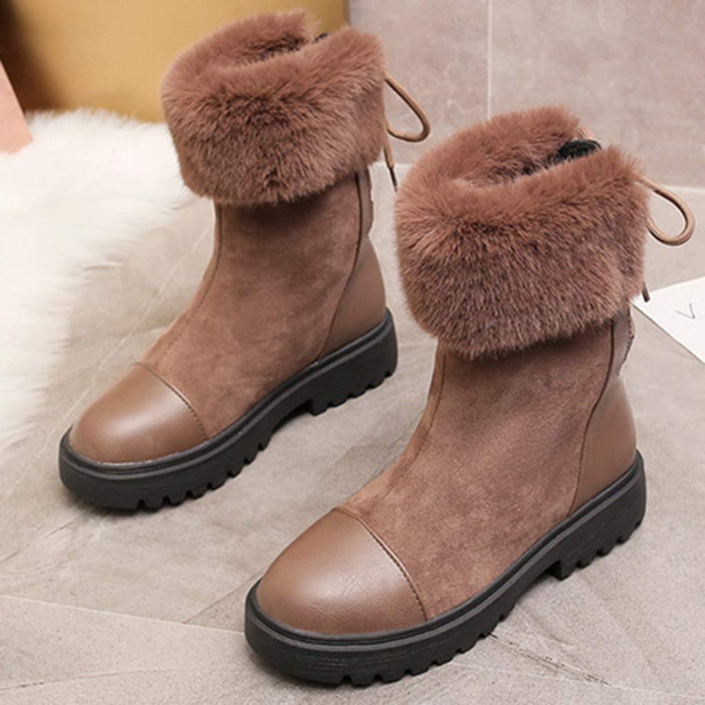 Womens Mid-tube Snow Boots Flock Thick Bottom Turn over Edge Straps Boots