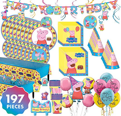 Party City Peppa Pig Mega Ultimate Party Kit for 16 Guests, 197 Pieces, Includes Tableware, Decorations, Hats, -