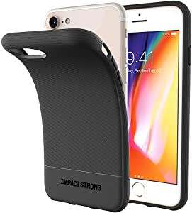 ImpactStrong iPhone SE 2020 Case, iPhone 7/8 Case, Liquid Shield Silicone Rubber Shock-Absorbing Scratch-Resistant Cover for iPhone 7/8 and iPhone SE (2nd Generation) - Black