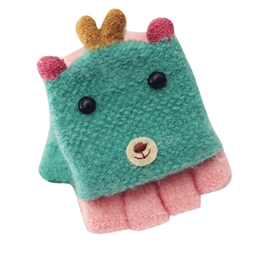 UOKNICE クリスマスフリップハーフフィンガー 子供用手袋 冬用 厚手 暖かい クリスマスギフトデコレーション 14*14cm MY1104 14*14cm Green-Kids B07K5W5KSK