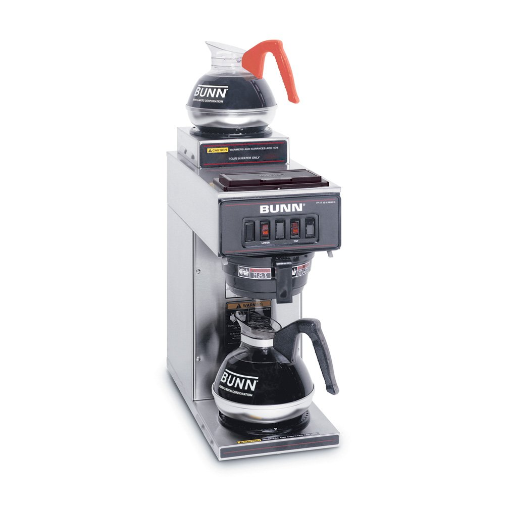 BUNN 13300.0002 VP17-2SS Pourover Commercial Coffee Brewer with Two Warmers, Stainless Steel