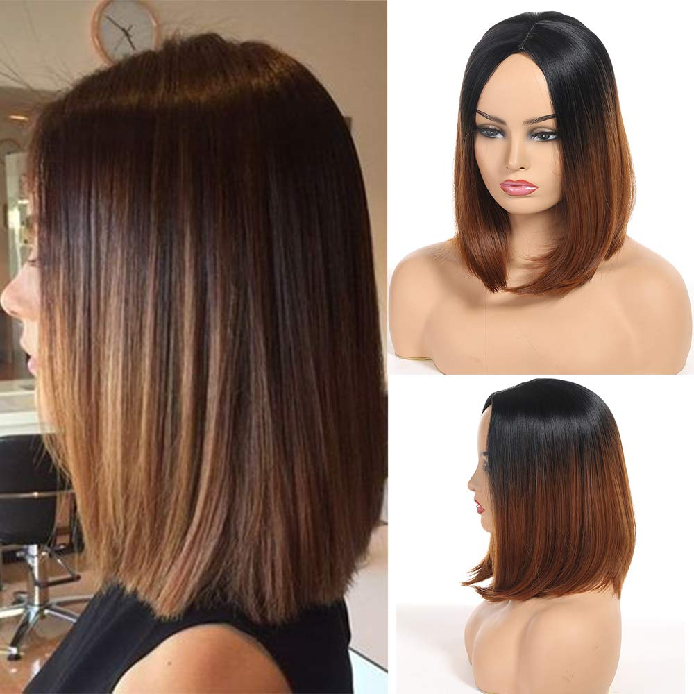 Amazon Com Two Tone Short Bob Hair Wig Ombre 1b 30 Shoulder Length Soft Silk Synthetic Dark Roots Ombre Color Women S Wigs 1b 30 Beauty
