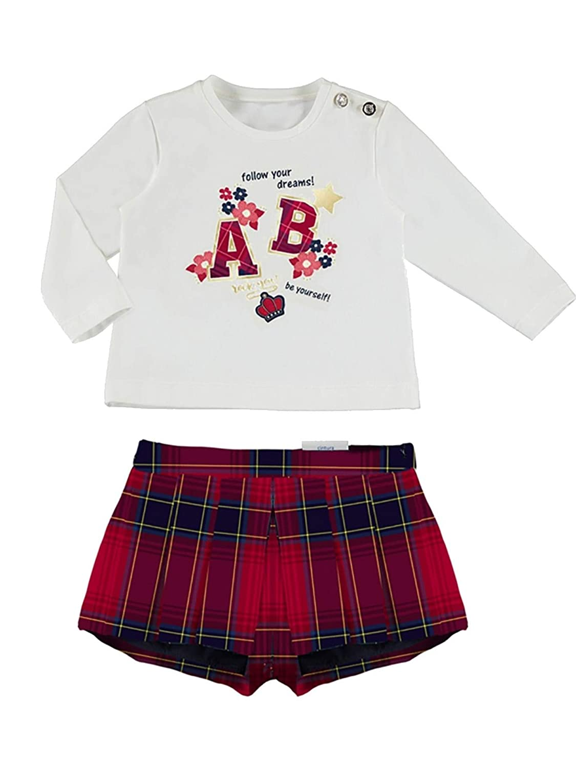 Mayoral 2214 Plaid Shorts Set for Baby-Girls Red