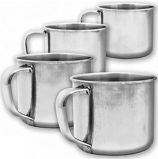 Outdoor Saxx® - 4 vasos rústicos de café para exteriores, vasos de metal, mini taza para café, para cocinar en Stove, barbacoa, fogatas, hornillo, 100 ...