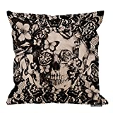 victorian home decor HGOD DESIGNS Cotton Linen Sofa Chair Square Throw Pillow Case Decorative Cushion Cover Pillowcase Victorian Gothic Lace Skull Pillow Cover Double Side 18X18 Inches