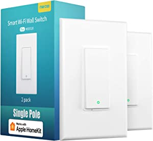 meross Smart Light Switch Works with Apple Homekit, Siri, Alexa and Google Assistant, 2.4Ghz WiFi Light Switch, Neutral Wire Required, Single Pole, Remote Control, Schedule, No Hub Needed, 2 Pack