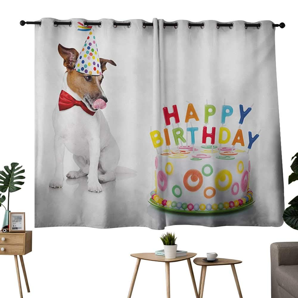 color04 42 x54 (W106cmxL137cm) NUOMANAN Curtains for Living Room Kids Birthday,Present Wrap Like Image with Chocolate Cake Figure and Kitten Party,Baby bluee and White,for Bedroom,Nursery,Living Room 42 x45