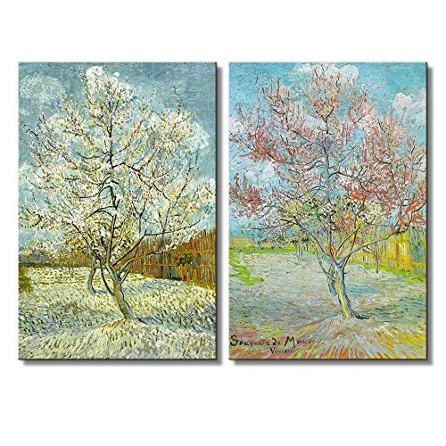 Peach Tree in Bloom by Vincent Van Gogh Oil Painting Reproduction in Set of 2 x 2 Panels
