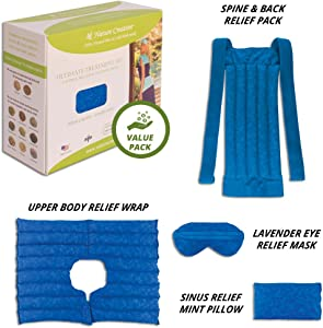 Ultimate Set- Herbal Heating Pad for Neck, Shoulder, Back, Spine, Sinus Relief – Microwavable Hot and Cold Therapy by Nature Creation (Blue Marble)