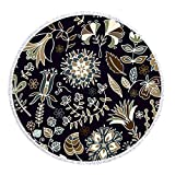 ASTIHN Dark Blue Bohemia Flowers Beach Towel Tablecloth Meditation Round Yoga Mat Scarf Shawl Screen Printed Design 60 inch round