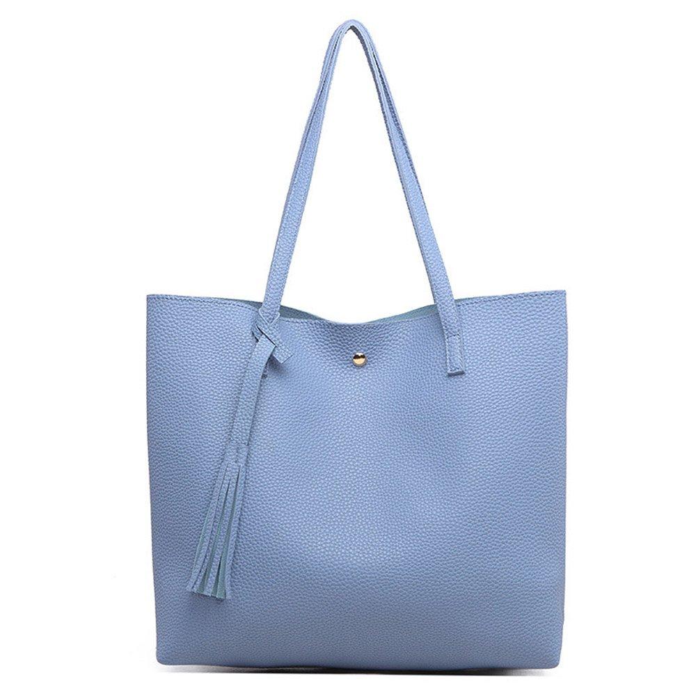 bluee Womens Handbags Purse Ladies Shoulder Bag Leather Large Tote Bag Top Handle handbag
