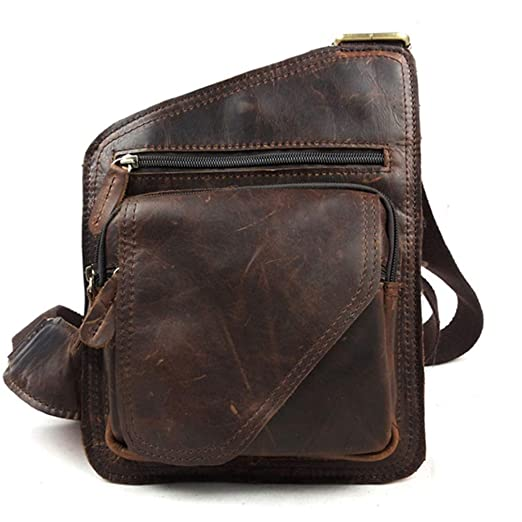 6681a6a4a479 Retro Style Oil Wax Genuine Leather Cowhide Men s Crossbody Shoulder Bag  Travel Sling Bags Chest Bag