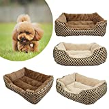Pet Bed, SymbolLife Soft Washable Dog Cat Pet Warm Basket Bed Cushion with Fleece Lining Rectangle Pet Bed All Season All Weather Pet Bed Three Sizes to Fit Most Pets Small, Gold or Light Gold (Random