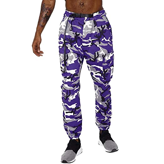 4cc6f2db9336f Allywit Camouflage Jogger Pants for Men Casual Sweatpants Active ...