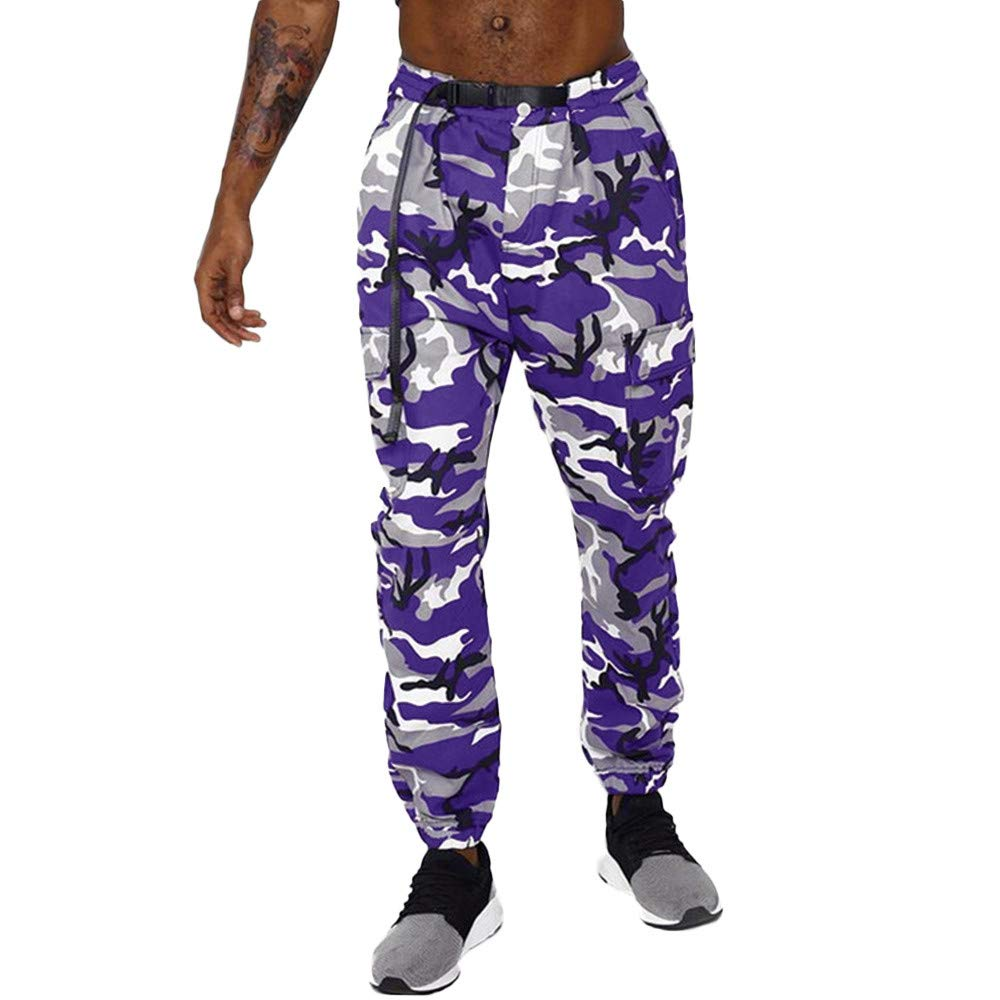 PASATO Clearace Sale! Men Camouflage Pocket Overalls Casual Pocket Sport Work Sashes Trouser Pants(Purple, XL)