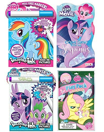 My Little Pony Imagine Ink Mess Free Picture Book Set with Grab and Go Play Pack Coloring Book and Seaponies Board Book