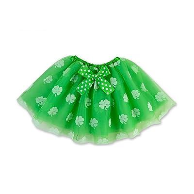 Rush Dance Ballerina St Patrick's Day Green & White Shamrock Clover Costume Tutu: Toys & Games