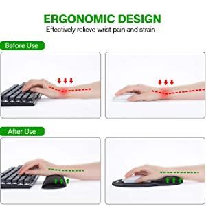VicTsing Keyboard Wrist Rest and Mouse Pad with Wrist Support, Ergonomic Mouse Pad, Durable & Comfortable & Lightweight for Easy Typing, Pain Relief, Memory Foam Keyboard Pad Set for Laptop/Mac, Black (Color: Black)