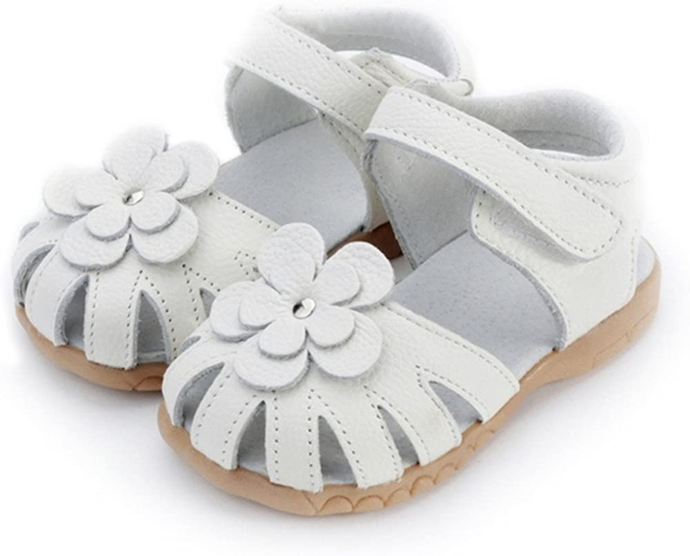 MIGO BABY Girls Genuine Leather First Walkers Flower Open Toe Sandals Toddler//Little Kid