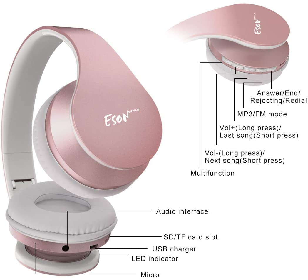 Wireless Earbuds,Esonstyle Over Ear Headset V5.0 with Microphone ...